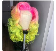 pink dark lime green weave hairstyles with color full lace wigs for black women Baddie Hairstyles, My Hairstyle, Pretty Hairstyles, Long Weave Hairstyles, Curly Hair Styles, Natural Hair Styles, Colored Wigs, Hair Laid, Grunge Hair