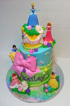 Disney Princess cake.  Plastic figurines were used. omg..Grace would freak out... She would love it