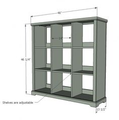 DIY Furniture Plan from Ana- How to build a cubby bookshelf with adjustable shelf. Free plans for beginners with full video project tutorial. Diy Wood Projects, Home Projects, Woodworking Projects, Fine Woodworking, Woodworking Magazine, Wood Crafts, Cubby Shelves, Cubbies, Diy Furniture Plans