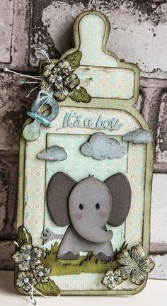 baby kaart gemaakt met de producten van Marianne Design PB7047 - Pretty Papers - A5 - Eline's Peach & Mint COL1384 - Collectables - Eline's Elephant LR0360 - Creatables - Tiny's grass