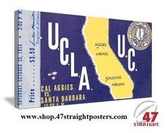 Football art. 1954 UCLA vs. Cal Football Art on canvas. Great game room art! #47straight #football #art