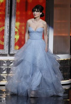 Zooey Dechanel wearing a Reem Arca Dress at the 2012 Emmy Awards. Laser Cut Tulle done by #NYEStudio