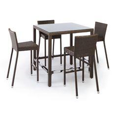 michio resin wicker outdoor 5 piece bar table and chair set