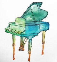 (via Watercolor Piano Art Print by lalunetropbleme | Society6)