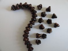 Picasso Light Brown Small Bell Flower Czech Beads Flower Caps Brown Czech Bell F