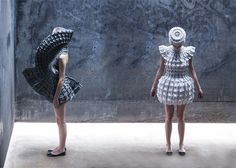 Croatian designer Matija Čop has created a collection of very conceptual dresses inspired by the Croatian gothic architecture. This collection named Object 12-1 refers to arks and domes of gothic constructions. The dresses are easily malleable, shaped by lasers and are gathered by tabs.