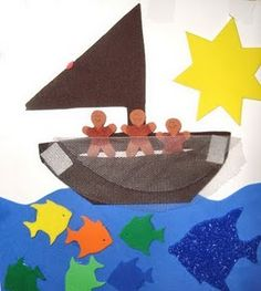 """Toss your nets to the other side"" bible craft and song for kids. Also, a snack idea! :-)"