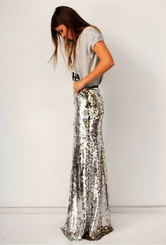 How to Chic: LONG SEQUIN MEXI SKIRT
