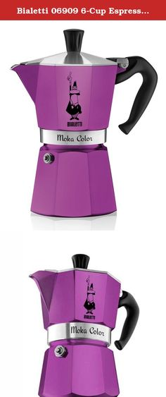 Bialetti 06909 6-Cup Espresso Coffee Maker, Purple. Bialetti's Moka Color stovetop espresso maker is a fresh new twist on the classic Bialetti design! Available in 4 bold colors, our new Moka Color makes the same great coffee in a stylish and fun vessel. The Bialetti Moka produces a rich, authentic espresso in just a few minutes. The colored aluminum pot also features Bialetti's distinctive eight-sided shape that allows it to diffuse heat perfectly to enhance the aroma of your coffee. The...