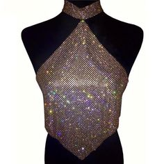 Metallic Diamante Crop Top featuring a halter neckline and Open Back.Glistening Rhinestone Metal Mesh Outfit Kylie Inspired for Clubs and Bachlorette Parties.