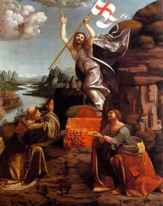 Giovanni Antonio Boltraffio : The Resurrection of Christ with Saint Leonard of Noblac and Lucia (also known as The Grifi Altarpiece) (Gemäldegalerie - Staatliche Museen zu Berlin (Germany - Berlin)) ジョヴァンニ・アントーニオ・ボルトラッフィオ Google Art Project, Religious Paintings, Religious Art, La Résurrection Du Christ, Jesus Christ Images, Jesus Resurrection, Classic Paintings, Catholic Art, Catholic Saints