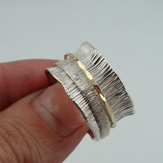 Stunning 9k Gold Sterling Silver Swivel Band / Ring size by jewela, $79.00