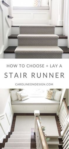 How to choose and ways to lay a stair runner. I share the best carpet styles, pattern considerations, and ways to lay a carpet on stairs. How to Choose and Lay a Stair Runner: An Overview Hardwood Stairs, Wooden Stairs, Painted Stairs, Hardwood Floors, Patterned Stair Carpet, Staircase Runner, Carpet Runner On Stairs, How To Carpet Stairs, Pattern Carpet On Stairs