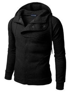 Doublju Plain black Hoodie Zip-Up Jacket with Quilting