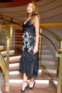 Van Cleef & Arpels store launch, New York - December 10 2013  Blake Lively wore a slip dress by Marchesa.