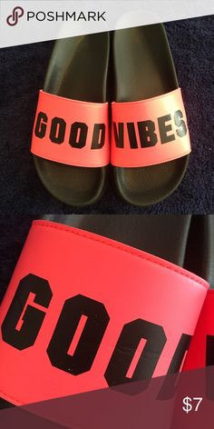 "VS Slip Ons ""Good Vibes"" worn 2 times, size LARGE fit me good and I'm a 9 reg. Victoria's Secret Shoes"