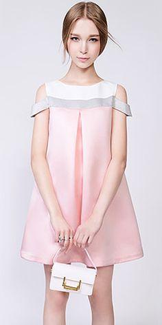 Sweet Style Off-shoulder Contrast Color Loose Dress