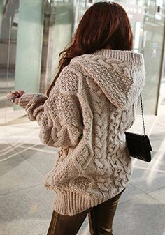 Light Brown Sweater Coat - Chunkie Hoodie Sweater Coat
