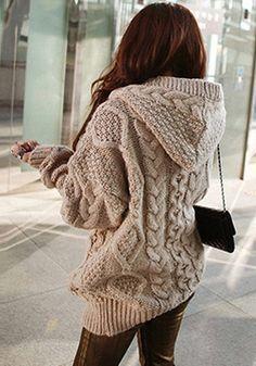 Light Brown Sweater Coat - Chunkie Hoodie Sweater Coat
