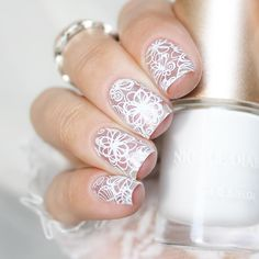 Floral #nailstamping shared by @julia_ostapets, elegant lace nail style, more details shared in bornprettystore.com.   #nailart
