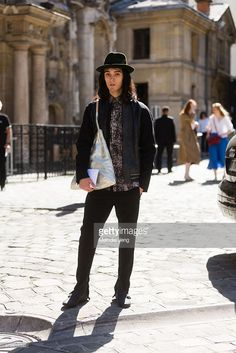 Louis Kurihara wears a Borsalino hat and Lanvin outfit on June 28, 2015 in Paris, France.