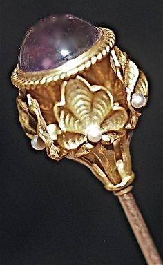 Amethyst & Seed Pearl 18 Karat Gold Hatpin