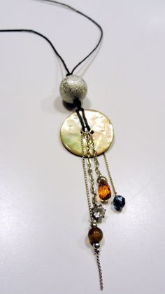 Sunset Pendant: upcycled bling, button and beads by ToT'ems by Sally, $30.00 USD