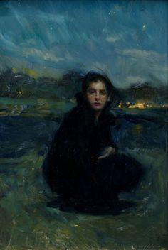 "Photography ,Fine art and sometimes History — eiruvsq: Artist: Quang Ho ""Night Fall"" Oil . Painting Inspiration, Art Inspo, Portrait Art, Portraits, Memes Arte, Renaissance Kunst, Figurative Kunst, Nocturne, Aesthetic Art"