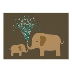 Elephant Shower of Love Custom Announcement