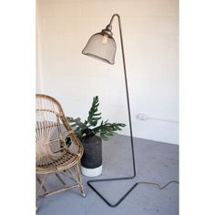 Kalalou Metal Floor Lamp with Wire Mesh Shade