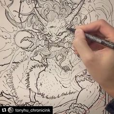 Raijin and skeleton sketch for fun.  Anyone ready to go ? 👹👹  -  We've made Chapter 1.i - The Horns available to watch as a free preview. Type this link in your browser and take a look!  -  Step 1: Go to http://www.inkworkshops.com/programs/chapter-1  Step 2: Select iii. The Eyes in the playlist  Step3: Click PLAY!  -  The 'DRAGON MASTERCLASS' is available now, click the link in our bio!