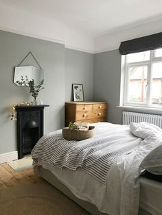 Gray and Sage Green Bedroom. Gray and Sage Green Bedroom. Gray and Sage Green Bedroom Gray and Sage Green Bedroom Bedroom Apartment, Home Decor Bedroom, Modern Bedroom, Green Bedroom Decor, Contemporary Bedroom, Modern Victorian Bedroom, Modern Contemporary, Green Bedroom Design, 1930s Bedroom