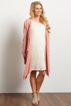 Dusty-Pink-Long-Flowy-Open-Front-Maternity-Cardigan