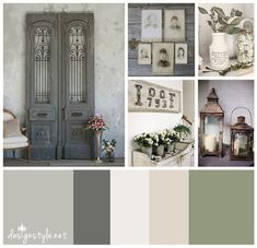 Rustic Vintage color palette, Weathered Wrought Iron with accents of grey, beige, green and cream PERFECT COLORS FOR MY living room Green Color Schemes, Green Colour Palette, Color Combinations, Vintage Colour Palette, Vintage Colors, Rustic Color Palettes, Grey And Beige, Green And Grey, Beige Color