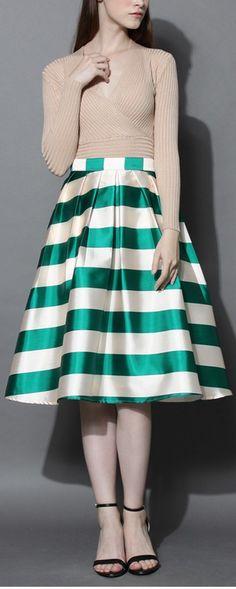 striped satin midi skirt