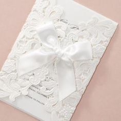 Shimmery Floral Wrap with Ribbon Lasercut by B Wedding Invitations