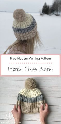 The French Press Beanie Knitting Pattern mixes color blocking and fisherman's rib stitch to create a boho style fitted beanie. Customize your hat by making it more slouchy or using different amounts of color. Your end hat will be a creation all your own! Find this FREE Knitting Pattern on the blog! #knittingpattern #freeknittingpattern #hatknittingpattern #fishermansribstitch Beanie Knitting Patterns Free, Loom Knitting, Knit Patterns, Free Knitting, Rib Stitch Knitting, Loom Knit Hat, Knit Beanie Pattern, Knitting Blogs, Knitting Stitches