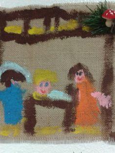 Presepio pittura su yuta 5 anni