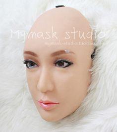 Quality (CM801)Handmade Silicone Sexy And Sweet Half Female Face Ching Crossdress Mask Crossdresser Doll