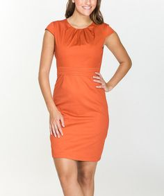 Look at this #zulilyfind! Rust Pleat-Accent Cap-Sleeve Dress #zulilyfinds