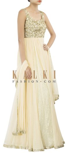 Buy Online from the link below. We ship worldwide (Free Shipping over US$100) http://www.kalkifashion.com/beige-anarkali-suit-adorn-in-sequin-embroidery-only-on-kalki-15581.html