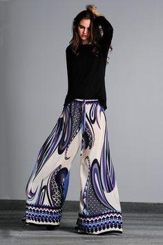 Kathrin Flared Lilac Jigsaw Silk Pant