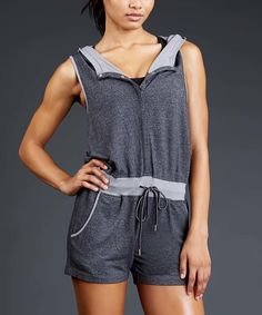 Love this Heather Gray Hooded Cole Romper by Zobha on #zulily! #zulilyfinds