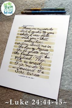 He opened their minds to understand the Scriptures. Luke 24:44-45 Scripture Hand Lettering Printable Bible Verse Wall Art, Scripture Quotes, Bible Verses, Scriptures, Watercolor Hand Lettering, Luke 24, Verses For Cards, Online Printing Companies, Memory Verse