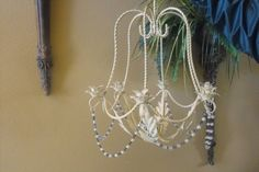 Candle Chandelier - Shabby Chic for Home or Garden Decor,  CREAM, Country, Beach, - GLASS BEADS -  Wedding, Vintage Vanity, Romantic Bedroom...