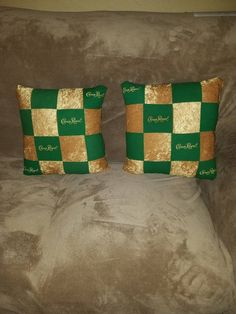 Items similar to Crown Royal green apple gold decor TWO pillows sham on Etsy Crown Royal Quilt, Crown Royal Bags, Indoor Crafts, Diy Crafts, Fabric Crafts, Crown Royal Whiskey, Gold Throw, Royal Green, Green Quilt