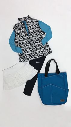 This is one of our favorite Workout Casual looks for the season! Wear the Nike Power Epic Lux Running Crops with the black Lucky in Love Core Airy Cinch tank and a Lucky in Love Pindot pleated scallop skirt. Add a Lucky in in Love Core Contour long sleeve top for cooler temperatures and complete the outfit with new NIke Air Max Wildcard tennis shoes.
