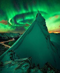 Green aurora, Svolvaer Goat Mountain, Svolvaer, Norway