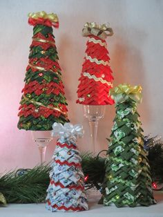 Tabletop quilted fabric Christmas tree by KCFabricOrnaments
