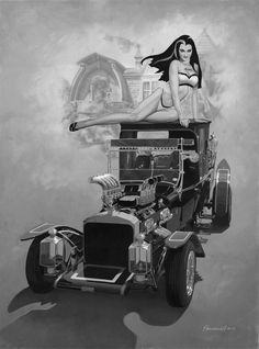 Lily and the Munster Koach art Lily Monster, Frankenstein's Monster, Pin Up, Yvonne De Carlo, Drawn Art, The Munsters, Garage Art, Classic Monsters, Car Drawings